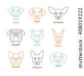 Stock vector logo collection with different dog breeds including german sheepherd labrador doberman husky 408019222