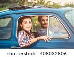 loving couple in an old blue... | Shutterstock . vector #408032806