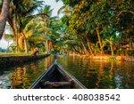 Kerala backwaters tourism travel in canoe boat. Kerala, India