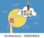 cloud hacking. flat line... | Shutterstock .eps vector #408038866
