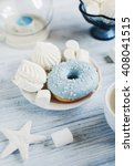 close up of sweet round donut... | Shutterstock . vector #408041515