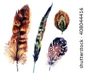 watercolor feathers set. hand... | Shutterstock . vector #408044416
