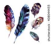 watercolor feathers set. hand... | Shutterstock . vector #408044455
