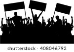 protest people crowd silhouette. | Shutterstock .eps vector #408046792