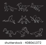 dinosaur origami paper in... | Shutterstock .eps vector #408061372
