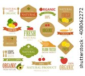 set of fresh organic label and... | Shutterstock .eps vector #408062272
