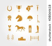Stock vector horse equipment icon set thin line color in circle logo logotype gold sign symbol horseshoe 408064618