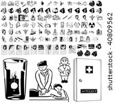 medical set of black sketch.... | Shutterstock .eps vector #40809562