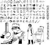 medical set of black sketch.... | Shutterstock .eps vector #40809565