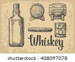 whiskey glass with ice cubes ... | Shutterstock .eps vector #408097078
