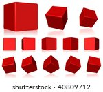 Vector 3d Red Cubes With...