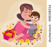 Illustration Of Cute Son Givin...