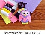 Cute Felt Owl Toy. Scissors ...