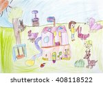 child drawing my country house | Shutterstock . vector #408118522