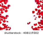 Stock photo romantic red rose petals on white background 408119302