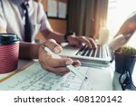 business man hand working and... | Shutterstock . vector #408120142