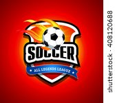 soccer  football logo. fire red ... | Shutterstock .eps vector #408120688