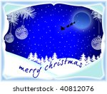 Merry Christmas-card with Santa and his sleigh - stock photo