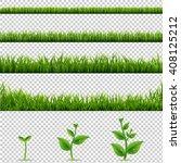 big set grass and plants ... | Shutterstock . vector #408125212