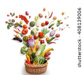 Stock photo healthy food in basket studio photography of different fruits and vegetables isoleted on white 408139006