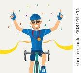 cyclists winner biking road... | Shutterstock .eps vector #408144715