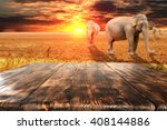 wooden space and sunset time  | Shutterstock . vector #408144886