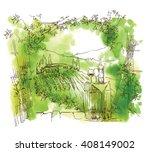 vineyard. hand drawn sketch of... | Shutterstock .eps vector #408149002