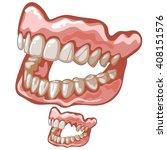 two plastic dentures.... | Shutterstock .eps vector #408151576