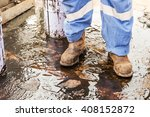 Close Up Safety Boot. Worker...