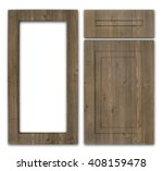 Stock photo wooden kitchen cabinet set a cupboard cover frame and drawer cover isolated on a white 408159478