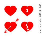 red vector love hearts  love... | Shutterstock .eps vector #408171946