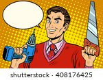 man saw drill tool | Shutterstock .eps vector #408176425