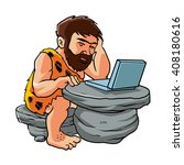 cartoon caveman using a laptop.  | Shutterstock .eps vector #408180616