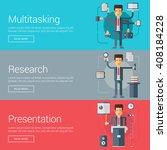 multitasking. research.... | Shutterstock .eps vector #408184228