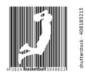 basketball player in a barcode... | Shutterstock .eps vector #408185215