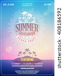 beach party flyer or poster.... | Shutterstock .eps vector #408186592