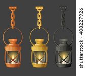 set of metal lamps or lanterns... | Shutterstock .eps vector #408227926