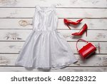 silver dress and red shoes.... | Shutterstock . vector #408228322