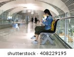 asian woman traveller using... | Shutterstock . vector #408229195