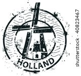 Stamp Of Windmill In Holland