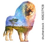 the lion on white background... | Shutterstock . vector #408237928