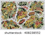 colorful vector hand drawn... | Shutterstock .eps vector #408238552