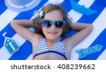 Happy Child On The Beach. Kid...