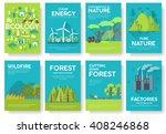 ecology information cards set.... | Shutterstock .eps vector #408246868