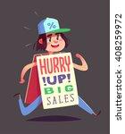 running boy with an advert.... | Shutterstock .eps vector #408259972
