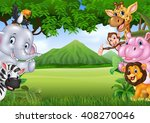 Cartoon Wild Animals With...