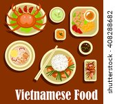 vietnamese cuisine with grilled ... | Shutterstock .eps vector #408288682