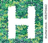 h letter illustration. leaves... | Shutterstock .eps vector #408293662