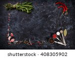 herbs and spices over black... | Shutterstock . vector #408305902