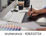 graphic designer using stylus... | Shutterstock . vector #408310726